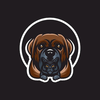 Desenho de logotipo de cachorro com gato na parte inferior