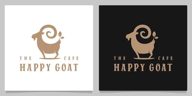 Desenho de logotipo de café expresso de semente de cabra e ilustração vintage retrô