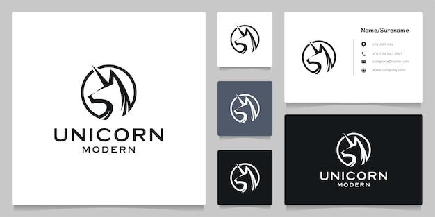Desenho de logotipo de círculo de cavalo unicórnio com cartão de visita