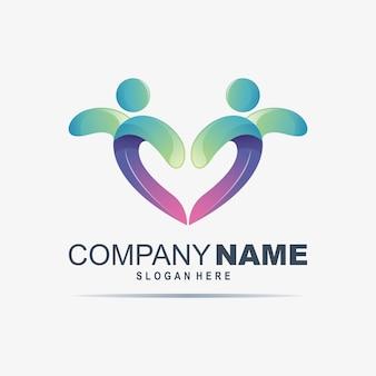 Desenho de logotipo de cuidados de coração vector premium