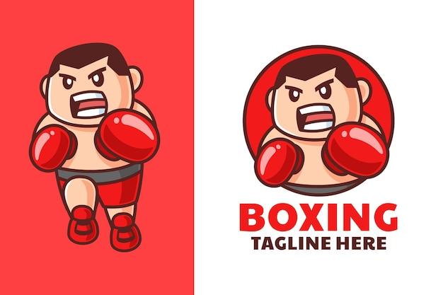 Desenho de logotipo de desenho animado de boxe masculino Vetor Premium