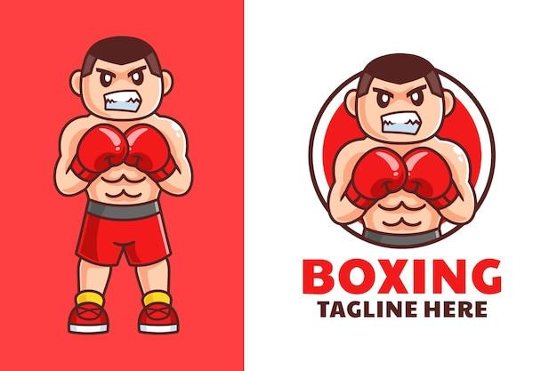 Desenho de logotipo de desenho animado de boxe masculino