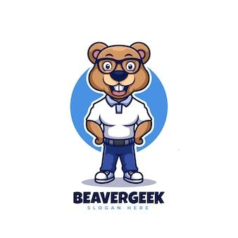 Desenho de logotipo de desenho de mascote para castor geek
