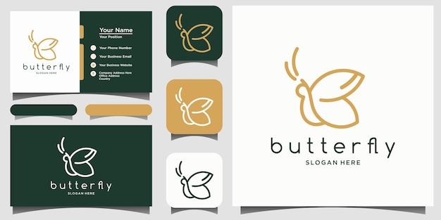 Desenho de logotipo de estilo de arte de linha de borboleta minimalista vector