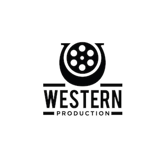 Desenho de logotipo de filme em ferradura de faroeste
