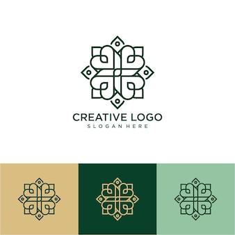 Desenho de logotipo de flor de arte de linha de luxo