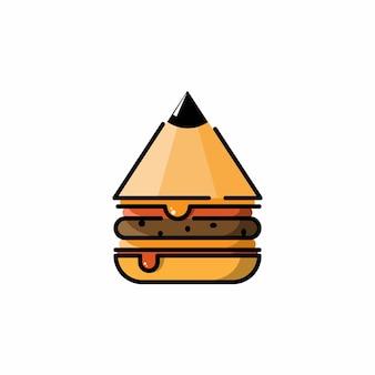 Desenho de logotipo de lápis de hambúrguer