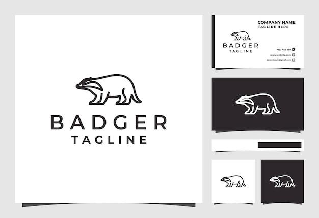 Desenho de logotipo de linha texugo animal vetor premium