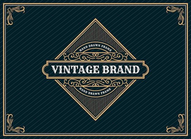 Desenho de logotipo de luxo real vintage retro de herança desenhada à mão com moldura decorativa de emblema para texto e tipografia