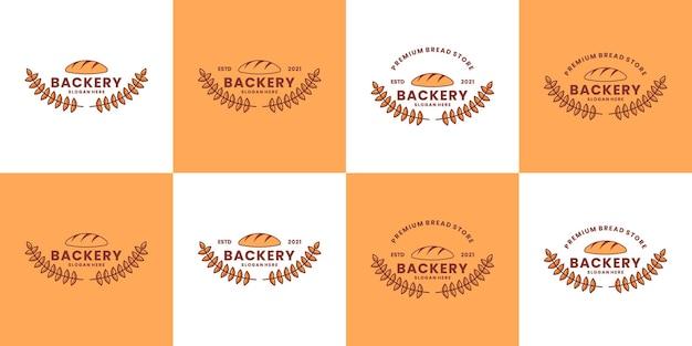 Desenho de logotipo de padaria vetor de restaurante de pacote vintage