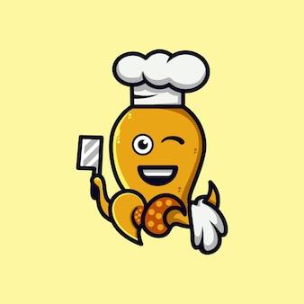 Desenho de logotipo de personagem de desenho animado de polvo fofo