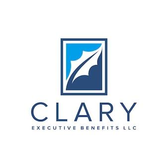 Desenho de logotipo de recrutamento de benefícios executivos em folha de carvalho