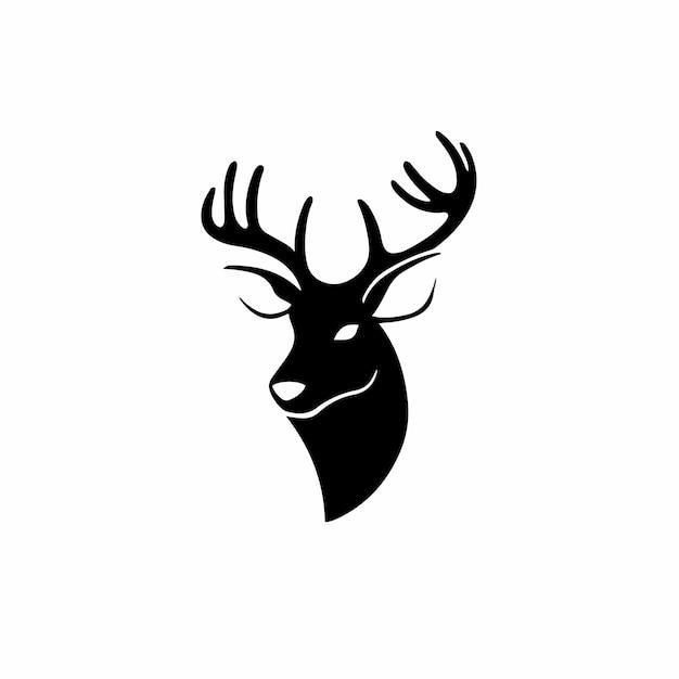 Desenho de logotipo de tatuagem de veado com estêncil ilustração vetorial