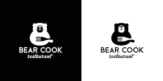 Desenho de logotipo de urso e comida