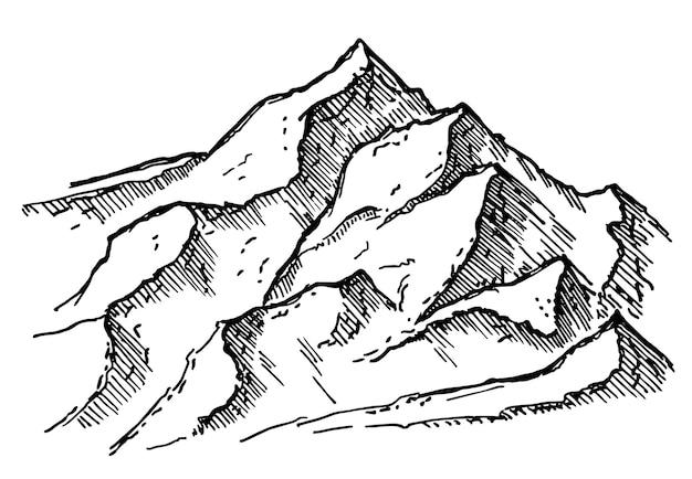 Desenho de logotipo desenhado à mão de montanha ao ar livre ilustração vetorial de modelo de logotipo de pico de montanha desig