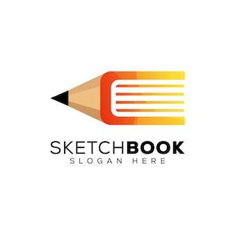 Desenho de logotipo do livro, lápis com design de logotipo do livro