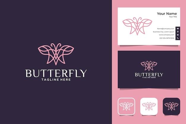 Desenho de logotipo e cartão de visita elegante arte em linha borboleta