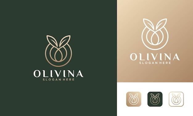 Desenho de logotipo elegante linha de arte em forma de folha