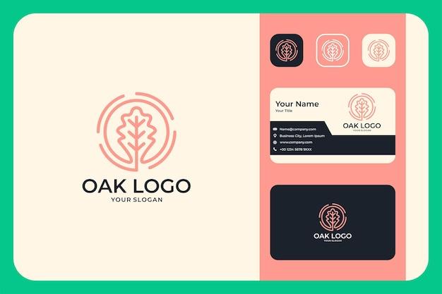 Desenho de logotipo feminino de círculo de logotipo de folha de carvalho e cartão de visita