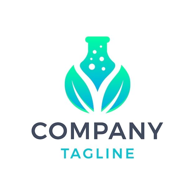 Desenho de logotipo gradiente verde 3d com folhas naturais simples e modernas