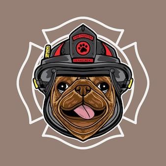 Desenho de logotipo gráfico vetorial do desenho do cão pug com estilo retro vintage de bombeiro