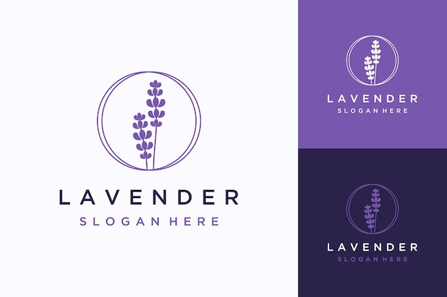 Desenho de logotipo natural de flores de lavanda com círculos