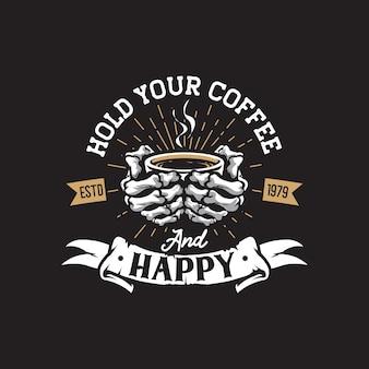Desenho de logotipo retrô de café