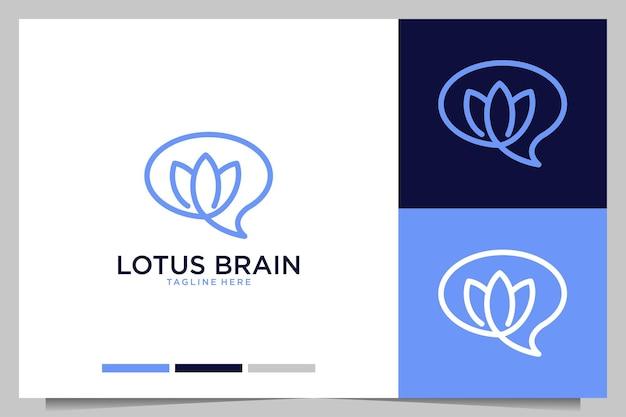 Desenho de logotipo simples da linha do cérebro de lótus