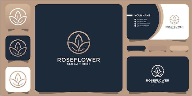 Desenho de logotipo três folhas e cartão de visita