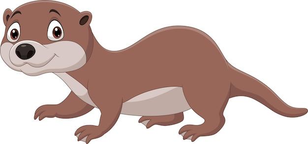 Desenho de lontra fofa isolada no fundo branco