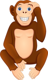 Desenho de macaco fofo em um fundo branco