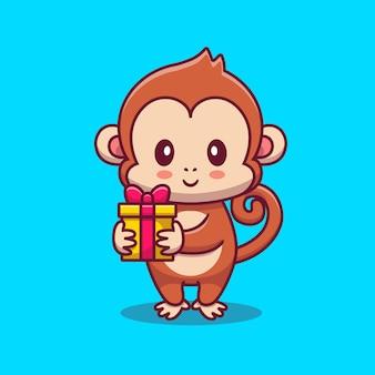 Desenho de macaco fofo segurando um presente