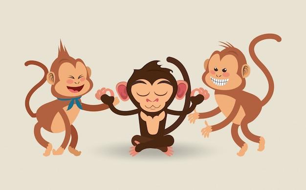 Desenho de macacos de selva