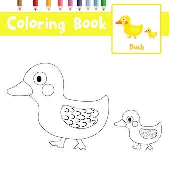 Desenho de mãe e pequeno pato para colorir