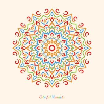 Desenho de mandala colorido bonito em um fundo limpo simples.
