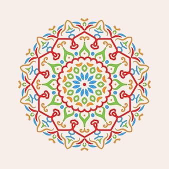 Desenho de mandala colorido simples em um fundo limpo simples.