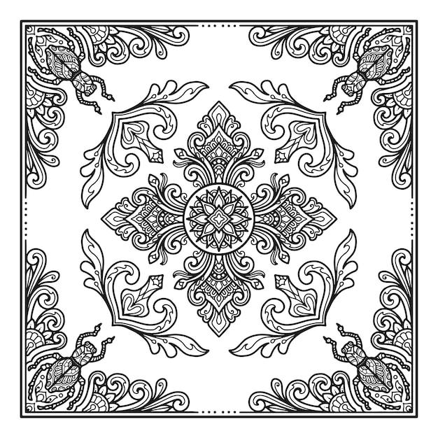 Desenho de mandala de insetos para bandana ou impressão de design de camiseta