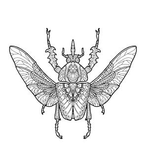Desenho de mandala de insetos para livro de colorir ou impressão de desenho de camiseta