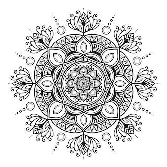 Desenho de mandala de ioga, adulto de página para colorir ou desenho de camiseta