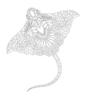 Desenho de mandala de manta para impressão de página de colorir Vetor Premium