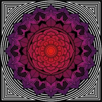 Desenho de mandala de moldura quadrada para aplicar em azulejos. ilustração geométrica e floral.