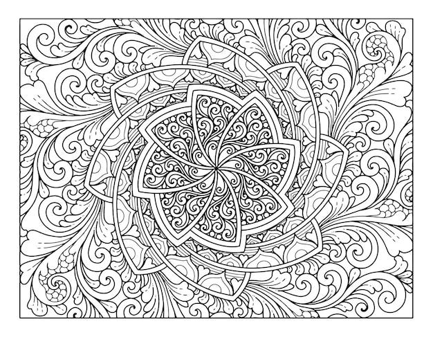 Desenho de mandala de página inteira para colorir