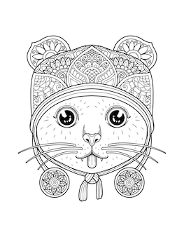 Desenho de mandala de página para colorir de cabeça de gato. design de impressão.