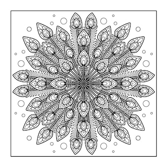 Desenho de mandala de penas de pavão para livro de colorir