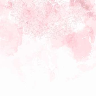 Desenho de mandala decorativa em fundo de textura aquarela