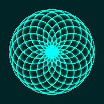 Desenho de mandala flor da vida. geometria sagrada. símbolo matemático. equilíbrio e harmonia. ilustração vetorial