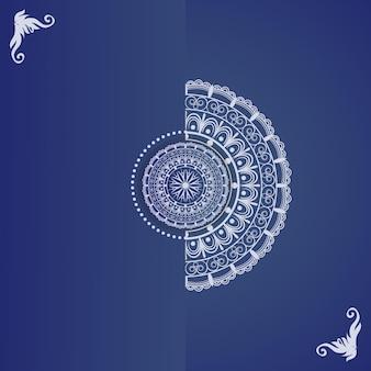 Desenho de mandala floral com contorno decorativo