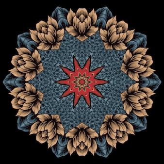 Desenho de mandala floral. elemen oriental