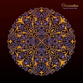 Desenho de mandala floral vintage em arabescos dourados