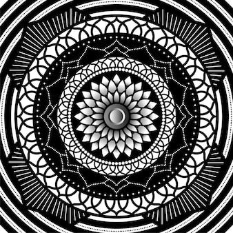 Desenho de mandala geométrica, floral e ornamental de estilo abstrato.